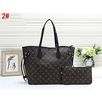 LV Louis Vuitton LV Fashionable Women Shopping Bag Leather Tote Handbag Shoulder Bag Purse Wallet Set Two-Piece 2#