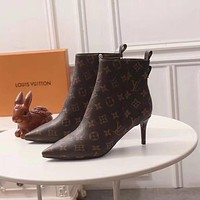 lv louis vuitton trending womens black leather side zip lace up ankle boots shoes high boots 217