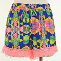 Printed Hot Shorts with Draw String Featuring Pink Lace Trim