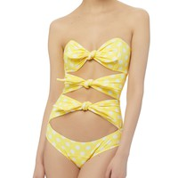 Yellow Polka Dot One Piece Swimsuit