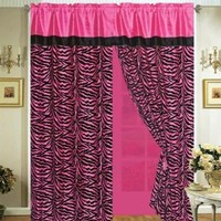4 Pieces Faux Silk Hot Pink with Black Zebra Window Curtain / Drape Set with Sheer Backing