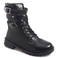 Black Combat Boots With Buckle and Rivet Design