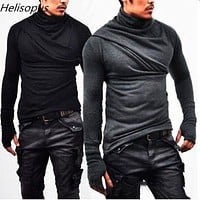 Helisopus Fashion Men's Slim Long Sleeve T-Shirts Cotton Men Fitness Casual T-Shirts Autumn Male Tops Tees With Gloves