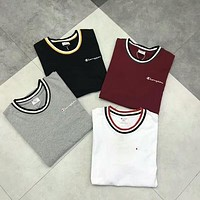 Champion Embroidered Cursed Line Collar Loose Round Neck Short Sleeve T-Shirt F-CY-MN-1