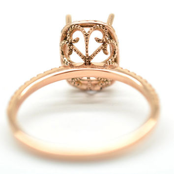 Semi mount gold ring, here in rose gold engagement ring, diamonds engagement ring JOAN,  setting only