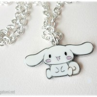 White Cinnamoroll Pendant on Silver Plated Chain  Kawaii by gatumi