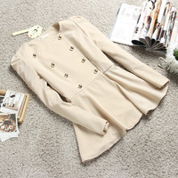 New Fashion Beige Womens Spring Outfit Sweet Double Breasted Coat