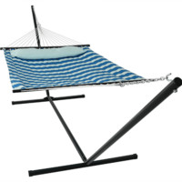 Sunnydaze Decor Royal Blue Hammock with Stand and Pillow