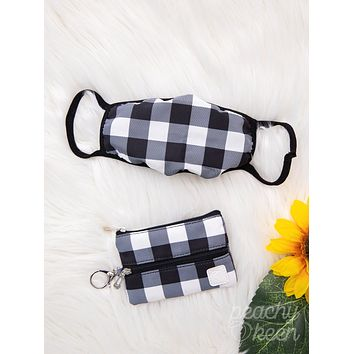 Southern Grace Check Yes Gingham Double Zipper Mini Versi Bag with Face Mask