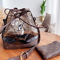 Bunchsun LV Louis Vuitton Women Personality Beach Jelly Bag Shoulder Bag Transparent Handbag Wallet Two Piece Set
