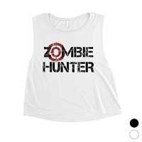 Zombie Hunter Womens Badass Strong Cool Nice Fun Halloween Crop Top