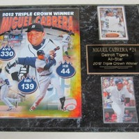 Miguel Cabrera Detroit Tigers TRIPLE CROWN 2 Card Collector Plaque w/8x10 Photo - SOLD OUT FROM MANUFACTURER!!