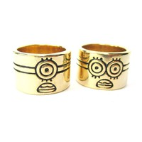 Quirky Despicable Me Inspired One Eyed or Two Eyed Minion Ring in Gold | DOTOLY