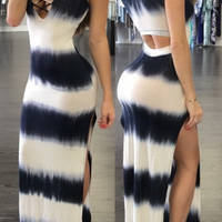 Lace-Up Striped Maxi Dress in Black or Pink