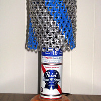 """Vintage PBR Pabst Blue Ribbon Beer Can Lamp With """"Blue Ribbon"""" Pull Tab Lampshade - The Mancave Essential"""