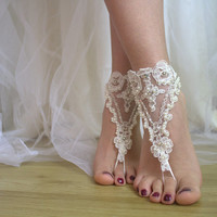 Beaded ivory lace wedding sandals, free shipping!