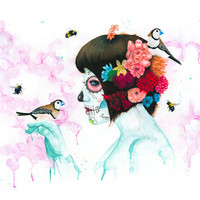 The Birds & the Bees - Day of the Dead  - Purple - Flower - Sugar Skull - Spring - Catrina