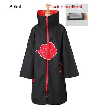 Ainiel Naruto Cosplay Costume  Naruto Akatsuki Uchiha Itachi Cloak Halloween Carnival Jumsuit With Headband For Women and Men