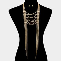 Double Metal Long Chain Necklace