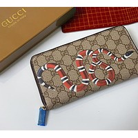 GUCCI New Vintage Classic Snake Print Logo Long Zip Wallet Card Holder