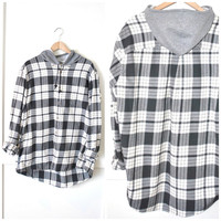 black + white plaid FLANNEL shirt with hood vintage early 90s GRUNGE oversized UPCYCLED hooded plaid button up os large