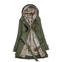 Women's Thicken Fleece Faux Fur Trench Coat Padded Jackets