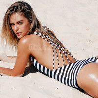 Sexy High Cut One Piece Bandage Backless Swimwear One Piece Swimsuit 2017 Hot Black White Navy Striped Padded Strap Monokini -Daniel03116