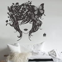 Wall Decor Vinyl Sticker Room Decal Girl Beauty Butterfly Love Passion Head Flowers Nature Herb Leaf Plant Hair Air (S161)