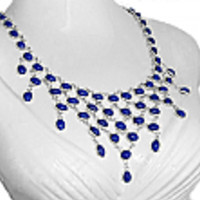 Sterling Silver and Lapis Lazuli Waterfall Necklace