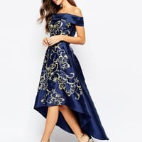 Chi Chi London Off Shoulder Midi Dress With Extreme High Low And Embroidery