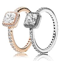 30% 925 Silver Rose Gold Timeless Elegance Rings With Crystal For Women Wedding Party Gift Fine Pandora Jewelry