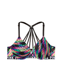 Strappy Back Leopard Lace Push-Up - PINK - Victoria's Secret