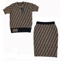Fendi Women Short Sleeve Top Skirt Two-Piece