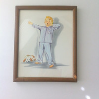 Sleepy Boy and His Pup Vintage Framed Donald Art Co #8 Blue Pajamas Spotted Dog