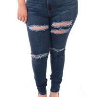Plus Size High Waist Slashed Dark Blue Jeans, Plus Size Clothing, Club Wear, Dresses, Tops, Sexy Trendy Plus Size Women Clothes