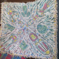 ANTIQUE AFRICAN  tribal folk art hand dyed  handpainted wall hanging,  tablecloth /  SCARF