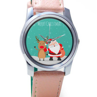 Merry Christmas Illustration Wrist Watch