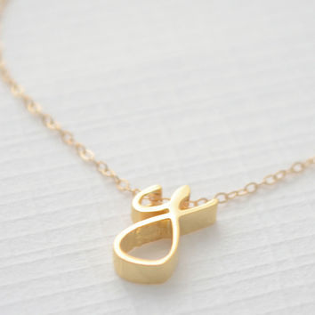 Cursive Lowercase Letter Necklace - Silver, Gold, Rose Gold