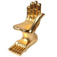 Iconic Pedro Friedeberg Surrealist Sculptural Gilt Hand-Foot Chair. (signed)