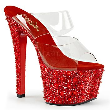 "Bejeweled 702 SP Red Rhinestone & Spike Platform 2 Band Shoe 7"" Heel Size 10"