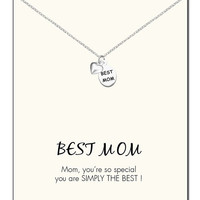 Diana Best Mom Tag and Heart Necklace
