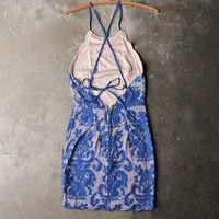 up all night scallop edge lace dress - blue