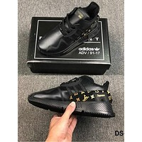 Adidas clover EQT Cushion ADV LV Supreme joint limited edition casual running shoes B-CSXY Black&Gold