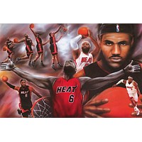 LeBron James #6 Miami Heat Basketball Poster 24x36