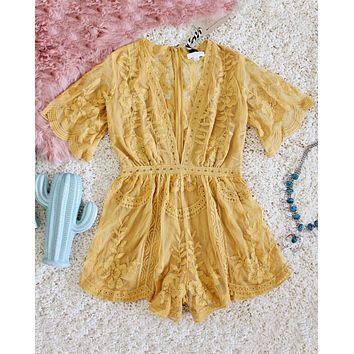Tainted Rose Lace Romper in Mustard