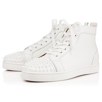 Christian Louboutin Lou Spikes Men's Women's Flat White Leather 11510613047