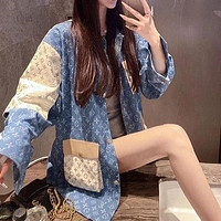 Louis Vuitton LV All-match Mid-length Stitching Full-length Printed Long-sleeved Denim Jacket