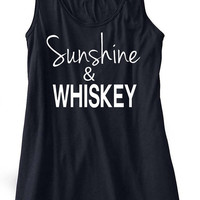 Sunshine and Whiskey Country Music Tank Top Flowy Racerbackt Custom Colors Stagecoach Festival Concert