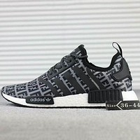FENDI x Adidas NMD R1 Boost Newest Popular Women Men Casual Sport Running Sneakers Shoes Black I-SSRS-CJZX