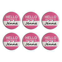 Jenna Hello My Name Is Plastic Resin Button Set of 6